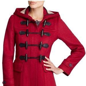 Burberry Brit Blackwell Wool Toggle Coat Claret